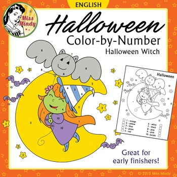 Halloween Color by Number Cute Witch Coloring Worksheet