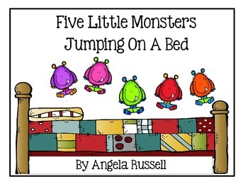 Halloween Song ~ Five Little Monsters Jumping On A Bed