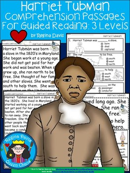 A+ Harriet Tubman Comprehension For Guided Reading...Ameri