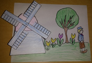 A Hole in the Dike Color, Cut, and Paste with 3D windmill