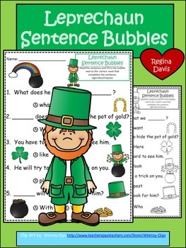 A+ Leprechaun: Fill In the Blank.Multiple Choice Sight Wor