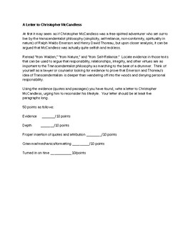 A Letter to Christopher McCandless (Into the Wild) Essay Rubric
