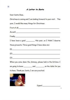 A Letter to Santa Template and Christmas Verbs Worksheet