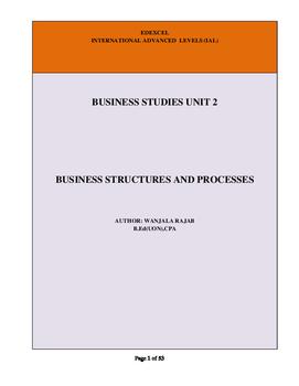 A Level Business Studies Unit 2: Business Structures & Pro