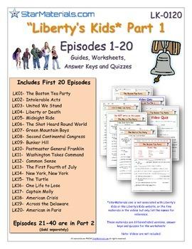 A Liberty's Kids ** Episode 01-20 - Worksheet, Ans Sheet,