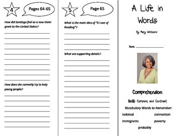 A Life in Words Trifold - California Treasures 6th Grade U