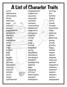 Printables Character Traits Worksheet a list of character traits by mrs r teachers pay traits