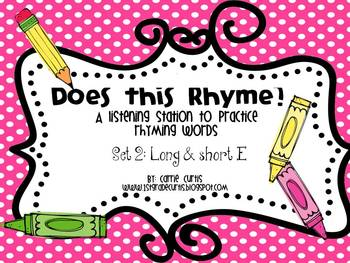 A Listening Center to practice Rhyming Words: Set 2