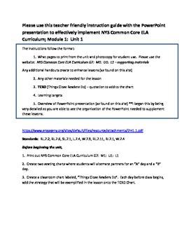 """""""A Long Walk to Water"""" ELA7 Module 1; Unit 1; teacher's overview"""