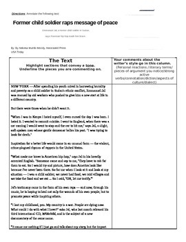 A Long Way Gone: Supplemental Close Reading Activity with