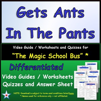 """A Magic School Bus ** """"Gets Ants in Pants"""" Worksheet, Answ"""