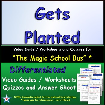 """A Magic School Bus ** """"Gets Planted"""" Worksheet, Answer She"""