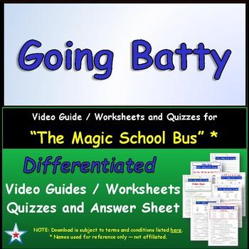 "A Magic School Bus ** ""Going Batty"" Worksheet, Answer Shee"