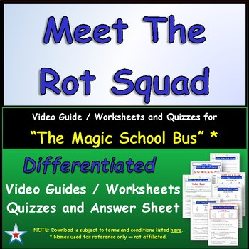 """A Magic School Bus ** """"Meets the Rot Squad"""" Worksheet, Ans"""