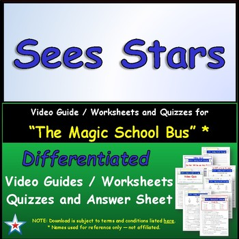 "A Magic School Bus ** ""Sees Stars"" Worksheet, Answer Sheet"
