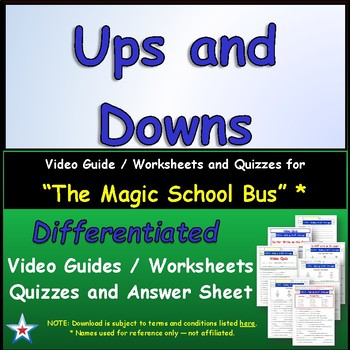 "A Magic School Bus ** ""Ups and Downs""  Worksheet, Ans Shee"