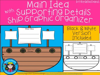 A+ Main Idea with Supporting Details: Ship Graphic Organizer