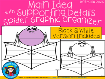 A+ Main Idea with Supporting Details: Spider Web Graphic O