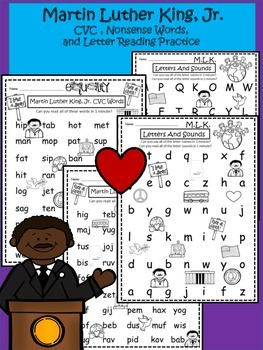 A+ Martin Luther King, Jr. CVC, Nonsense Words And Letter