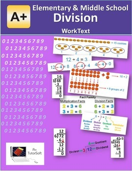 """A+ Math"" Elem & Middle School  Division Lessons, Workshee"