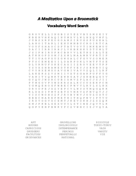 A Meditation Upon a Broomstick Vocabulary Word Search - Swift