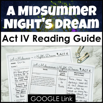 A Midsummer Night's Dream Act IV Reading Guide with Compre