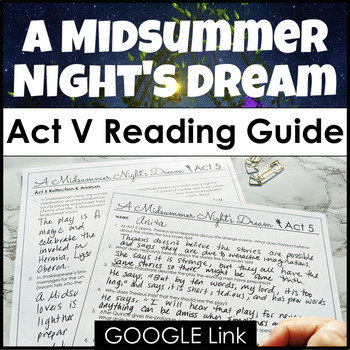 A Midsummer Night's Dream Act V Reading Guide {Study Guide}