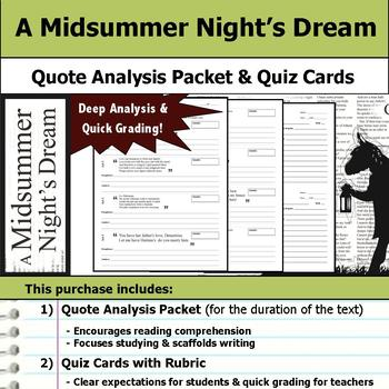 A Midsummer Night's Dream - Quote Analysis & Reading Quizzes