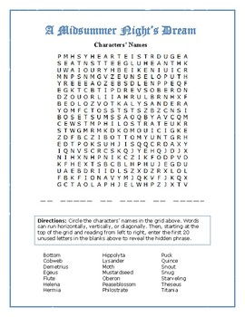 A Midsummer Night's Dream: Character Word Search w/Hidden Message