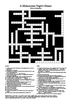 A Midsummer Night's Dream: Crossword Puzzle