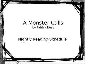 A Monster Calls: Suggested Reading Schedule **Editable!**