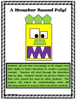 A Monster Named Poly- 2D Geometry Polygon Activity