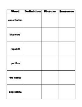 A More Perfect Union Vocabulary Chart