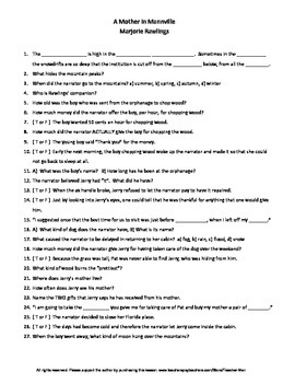 A Mother in Mannville M. Rawlings Guided Reading Worksheet