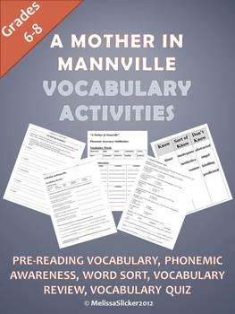 """A Mother in Mannville"" Vocabulary Activities"