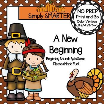 A New Beginning:  NO PREP Thanksgiving Beginning Sounds Spin Game