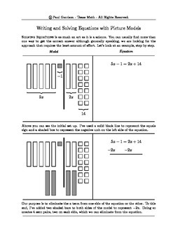 A Notes Page for Solving Equations with Variables on Both Sides