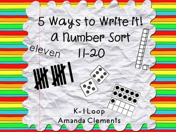 A Number Sort: 11-20 Using Tally Marks, Ten Frames, Dice,