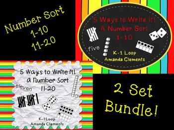 A Number Sort Bundle Using Tally Marks, Ten Frames, Dice,