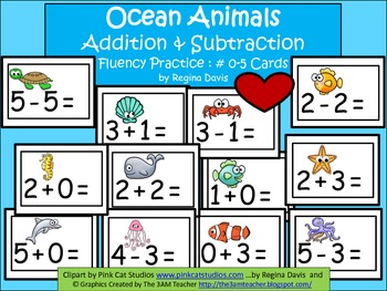 A+  Ocean Animals Addition & Subtraction Fluency Practice