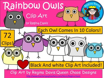 A+ Owls: Rainbow Colors Clip Art...Color And Black And Whi