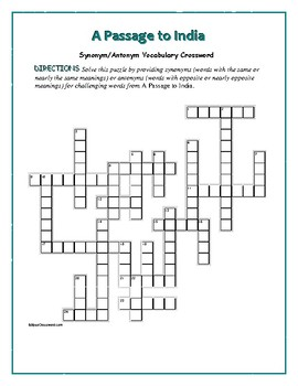 A Passage to India: Synonym/Antonym Crossword—Use with Boo