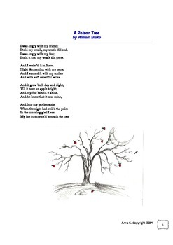 """A Poison Tree"" by William Blake: poem and worksheets"