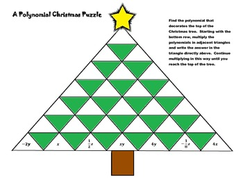 A Polynomial Christmas Puzzle [Multiplying Polynomials Worksheet]