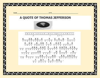 A QUOTE OF THOMAS JEFFERSON/ CRYPTOGRAM