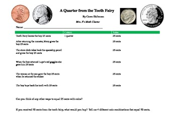 A Quarter from the Tooth Fairy - Math/Literature Connected