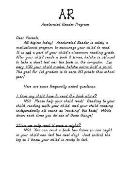 A. R. (Accelerated Reader) Information Letter