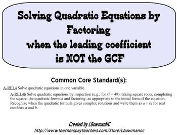 A-REI.4b Solving Quadratic Equations by Factoring (Leading