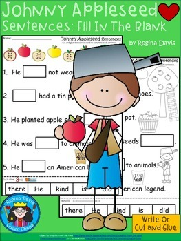 A+Johnny Appleseed Sentences: Fill In The Blank