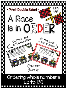 A Race is in Order: 1st Grade Math: Ordering to 120: TEKS 1.2F